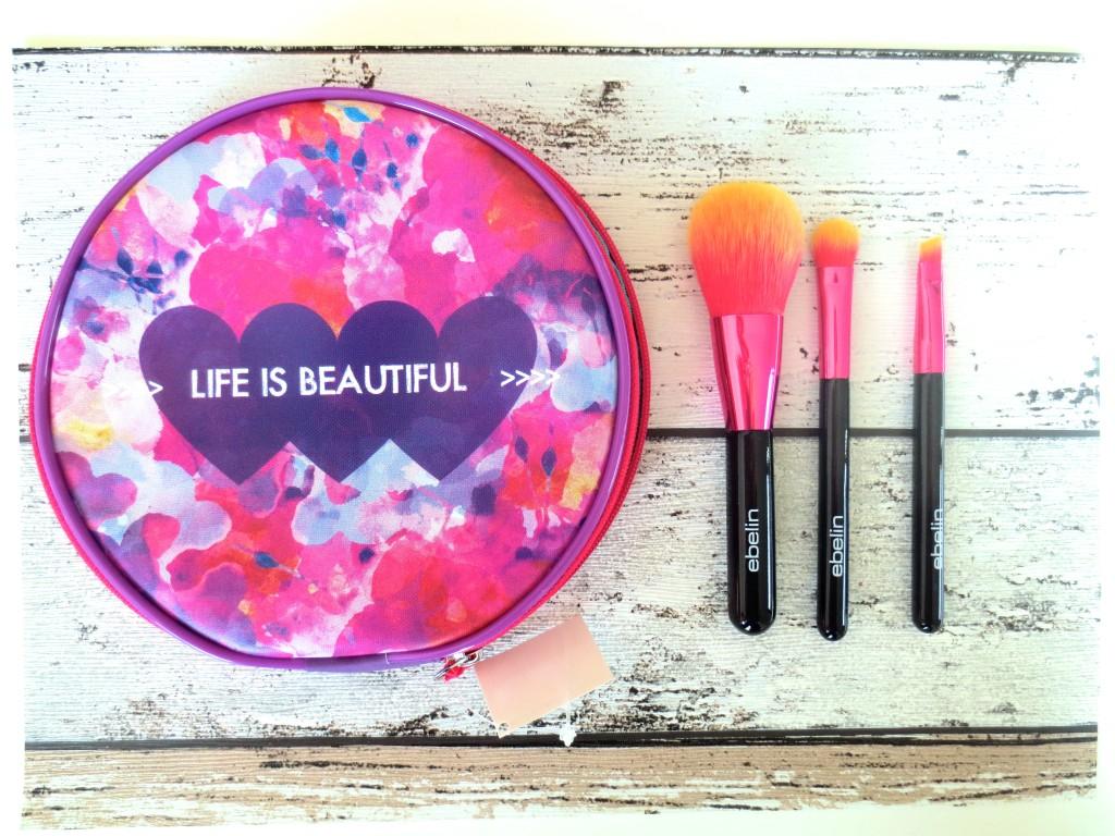Ebelin Life is Beautiful Kosmetiktasche mit Pinselset
