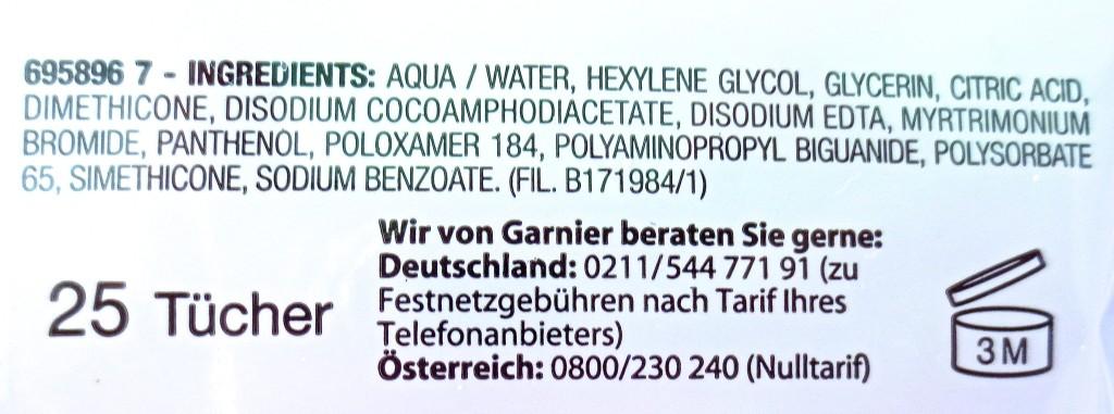 Garnier Mizellen Reinigungstücher Inhaltsstoffe