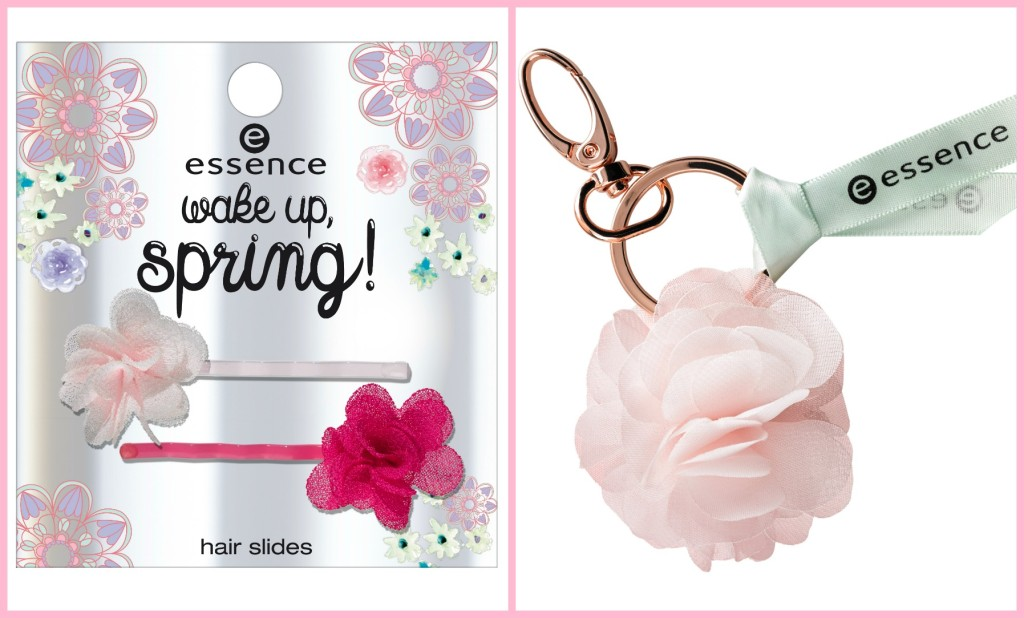 Essence wake up spring hair slides and bag charm Collage