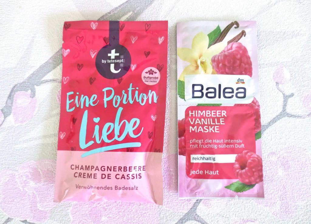 Tetesept eine Portion Liebe Badesalz Balea Himbeere Vanille Maske Wellness