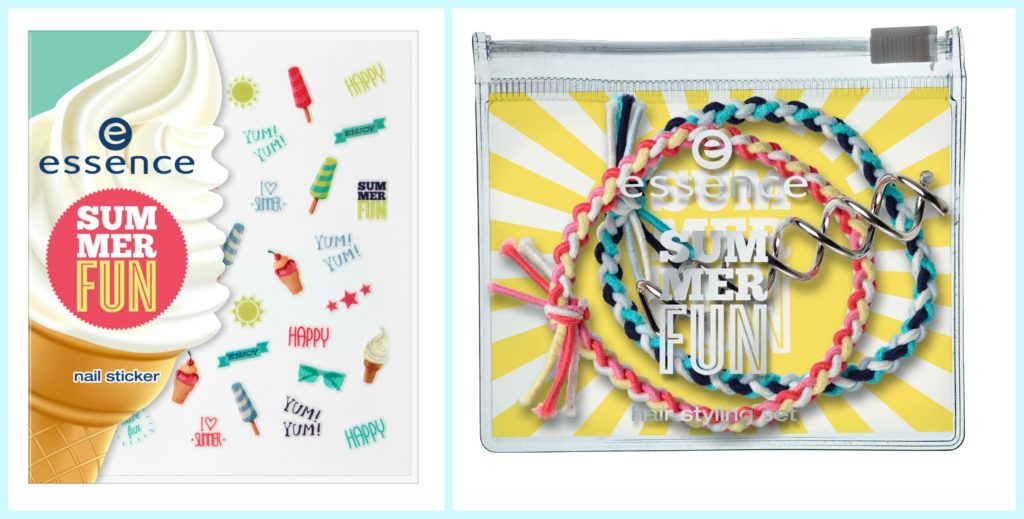 essence summer fun nail sticker + hair styling set Collage