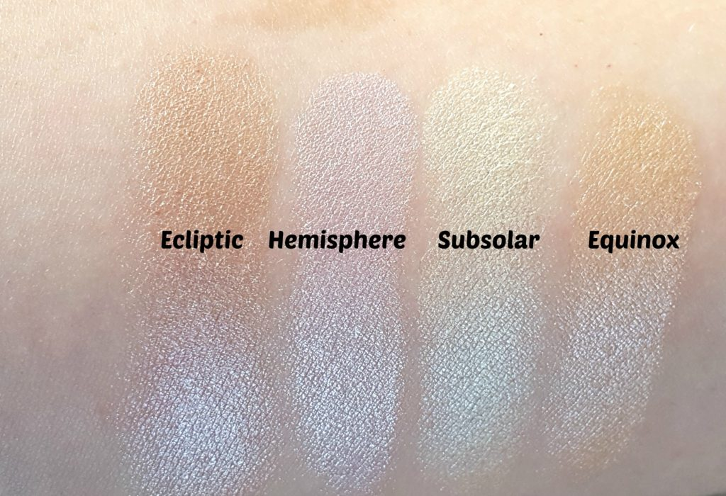 Sleek Makeup Solstice Highlighting Palette Swatches
