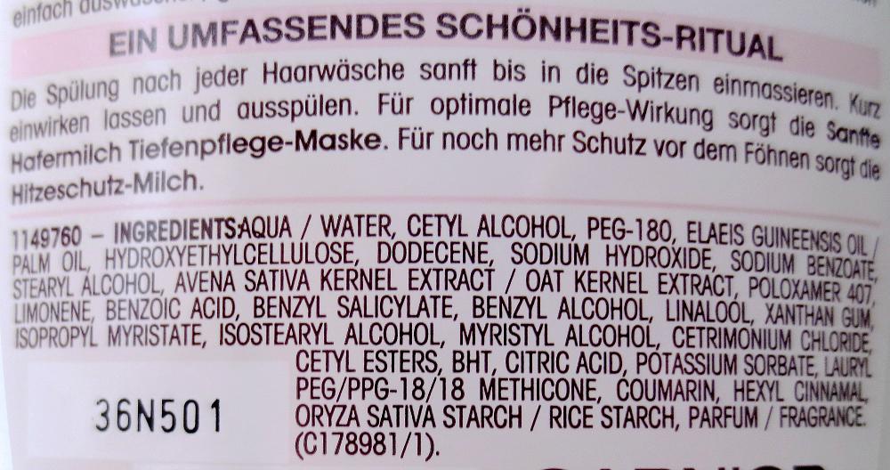 Garnier Wahre Schätze sanfte Hafermilch sanfte Spülung Inhaltsstoffe
