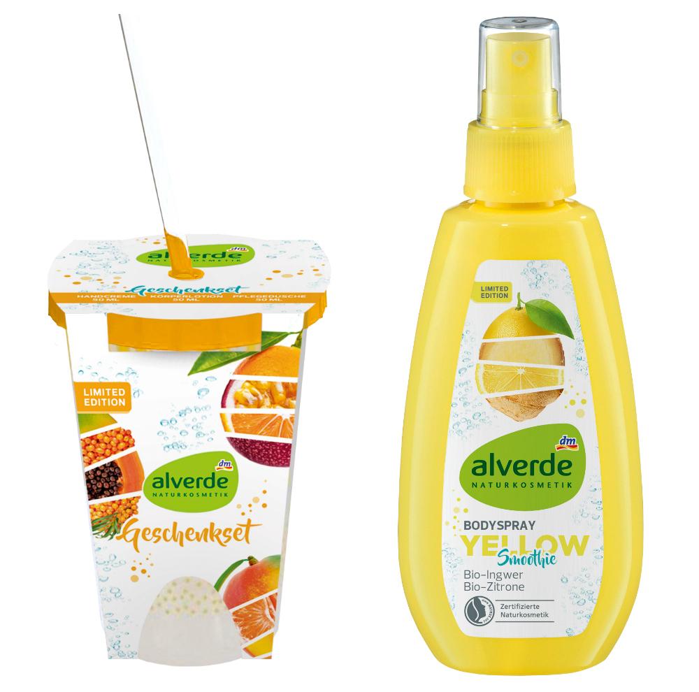 alverde natürlich schön limited edition geschenkset und bodyspray yellow smoothie