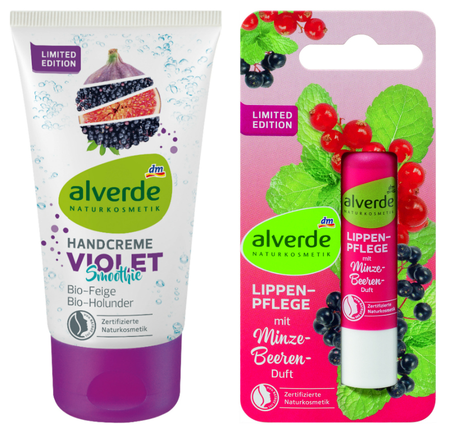 alverde natürlich schön handcreme violet smoothie und lippenpflege Minze Beere