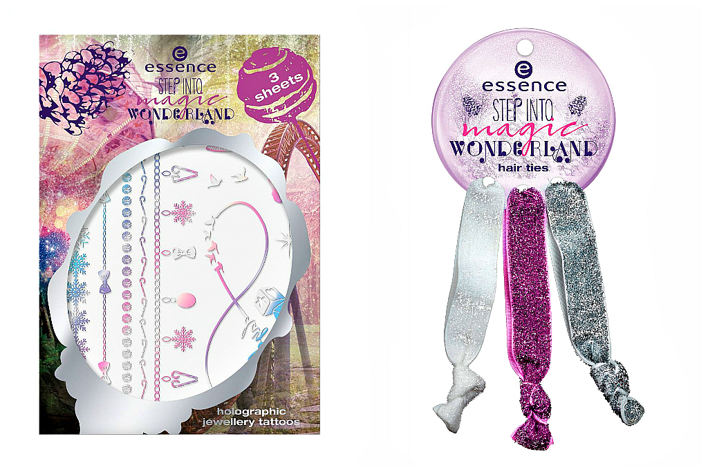 essence step into magic wonderland limited edition holographic tattoos, hair ties