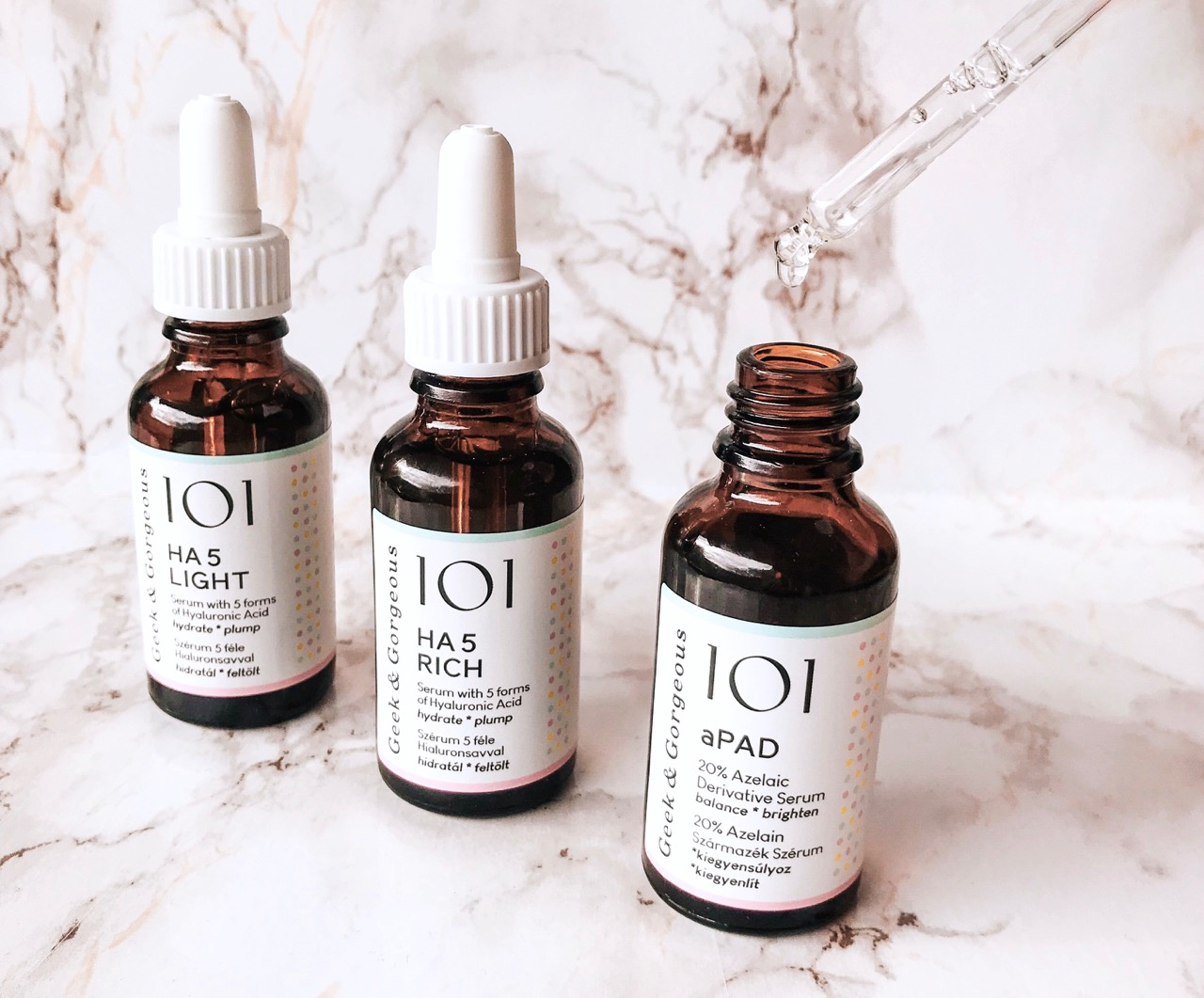 geek & gorgeous 101 serums aPAD texture